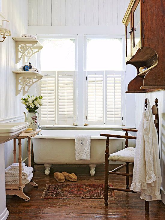 Country cottage bathroom ideas bead board walls cottage Rustic country style bathrooms