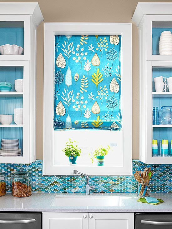 Bright Color Pattern Roman Shades For Kitchen