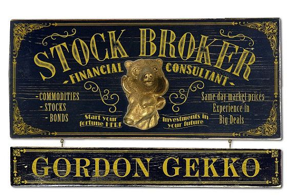 Stock Broker Vintage Plank Nameplate Sign by KandKSales on Etsy