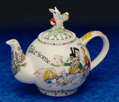Alice in Wonderland Tea Pot by Paul Cardew. My aunt has the exact same one!