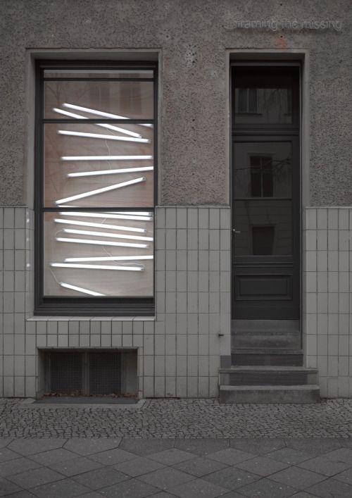 Neon lighting behind glazing Exhibition at Sassa Trulzsch