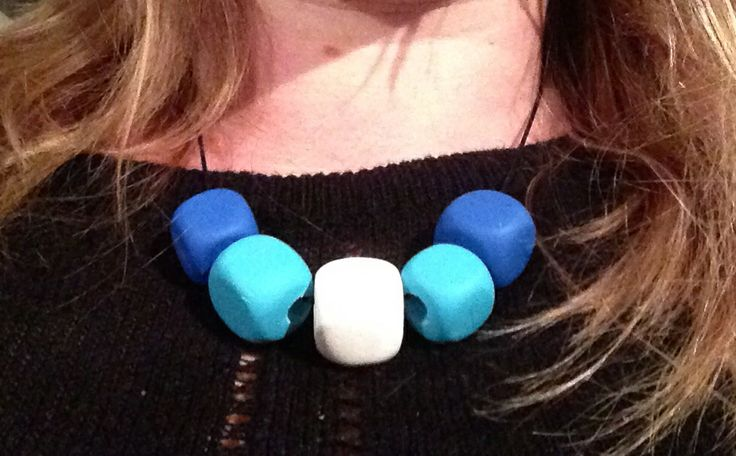 Polymer clay large cube necklace blue