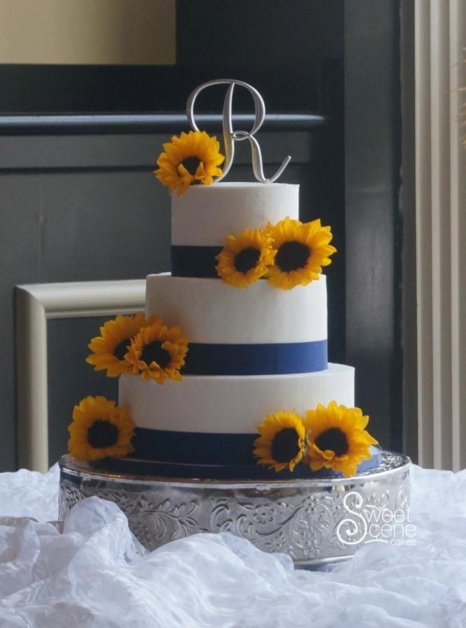 Summer Sunflower Wedding - Cake by Sweet Scene Cakes  #sunflowerweddingcake #weddingcake #sunflowers
