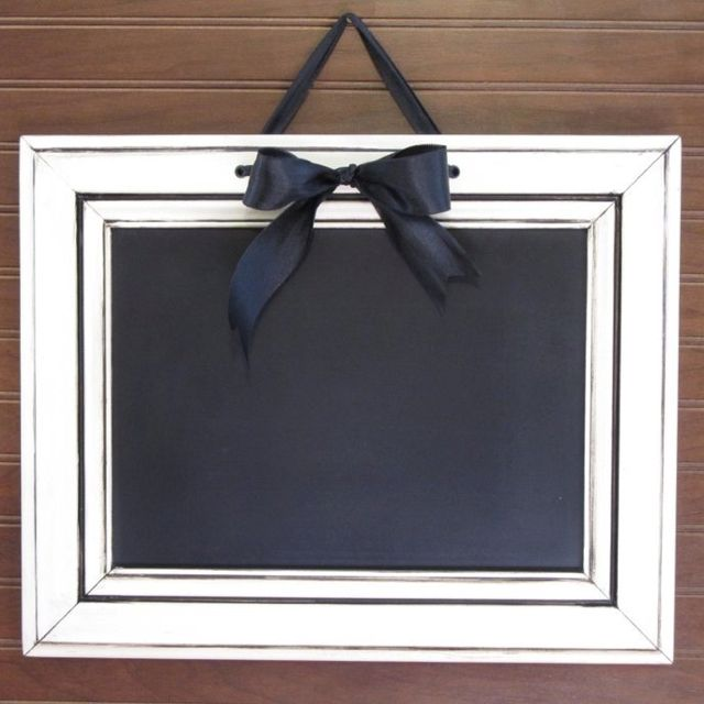Cabinet door recycled into blackboard / chalkboard