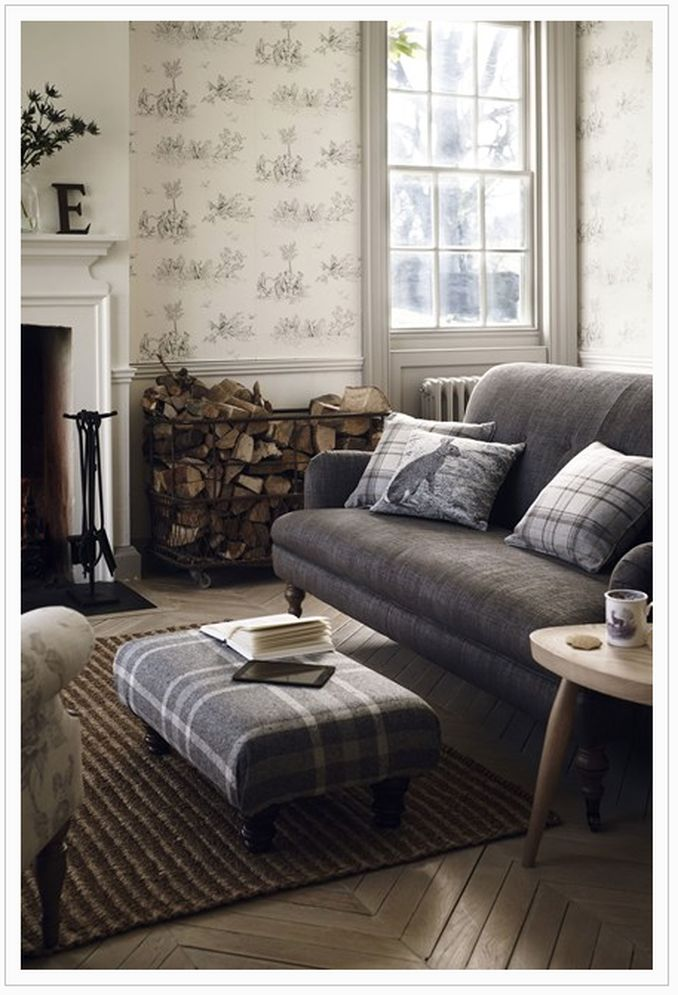 english country, english cottage, updated english country, plaid, neutrals, painted trim, floral print, chintz