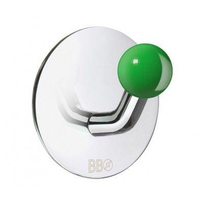 Smedbo Design Haken Edelstahl poliert Knopf grün BK1088