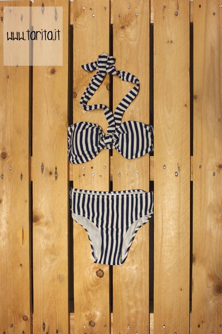 Tarita S/S 2013. Hoss Intropia, blue & off-white striped bikini.
