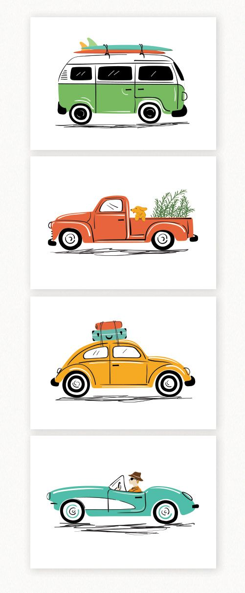 Vintage cars art print set, by Lucy Loves Paper. Set of 4 illustrations. Cute for a modern kids room or for vintage car lovers. #VWbus #VWbeetle #VWvan