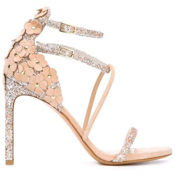 Stuart Weitzman Flower Embellished Heeled Sandals ($526) ❤ liked on Polyvore featuring shoes, sandals, stuart weitzman, blossom shoes, leather sandals, leather shoes and flower shoes
