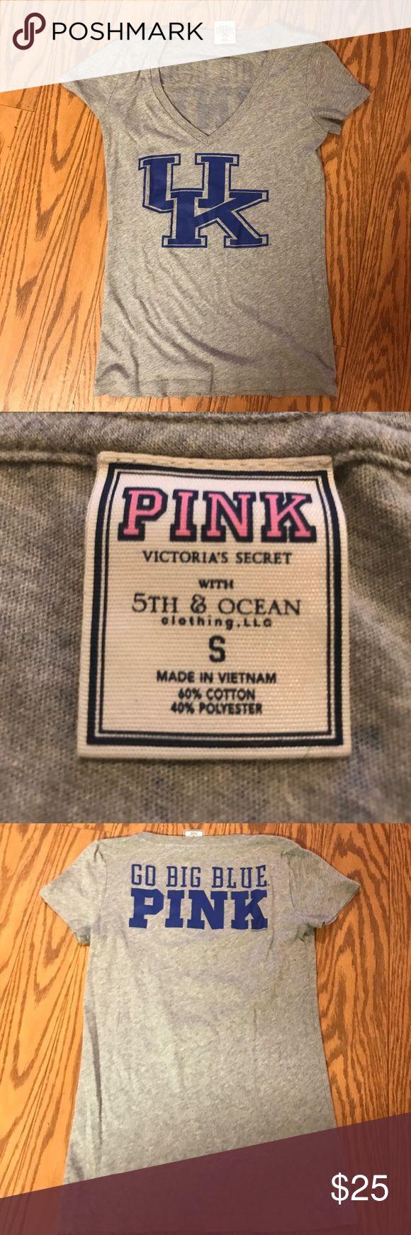 Victoria Secret Pink V Neck T Shirt UK Wildcats Gray v neck tshirt from Victoria secret pink. Has U.K. Wildcats logo on the front and go big blue PINK on the back. PINK Victoria's Secret Tops Tees - Short Sleeve