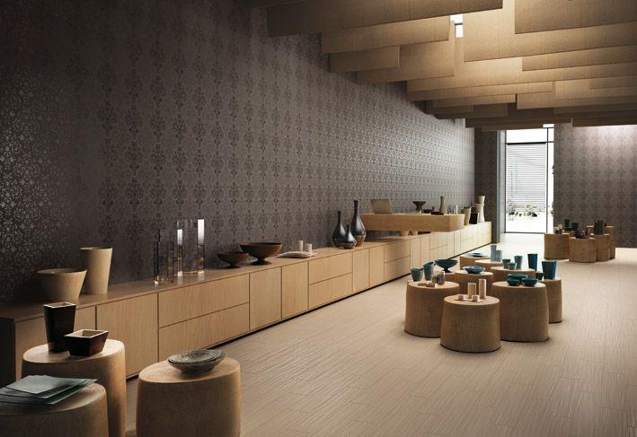 Interior Design, Wallpaper Effect Black Ceramic Wall Tiles Brown Tosca Black Grey Ceramic Plates Bottles Bowls Potteries Glass Unique Ceiling –and Cozy ~ Wonderful Ceramic Interior On The Floor Design