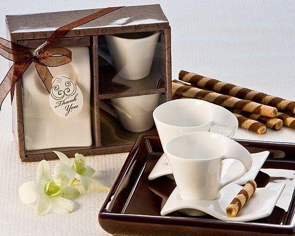 Italian Wedding Gifts: Swish Espresso Cup And Biscotti Plate Favor Set Of 2 Fine