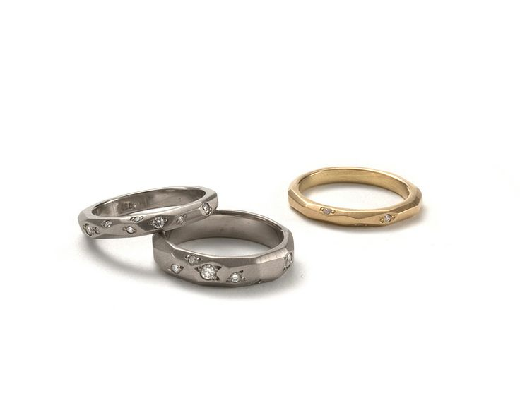 18ct White and Yellow gold Faceted bands with white diamonds. www.kristamcrae.com