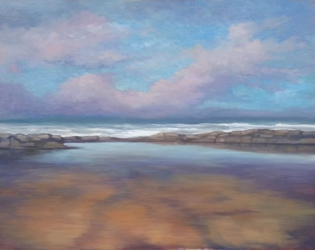 "'Evening Rockpool, Donegal' 32"" x 48"" oil on panel M. Ferriter 2016 http://bit.ly/29a6rK7  #art #ulster #WildAtlanticWay #Donegal #ireland #irelandinspires #paintings"