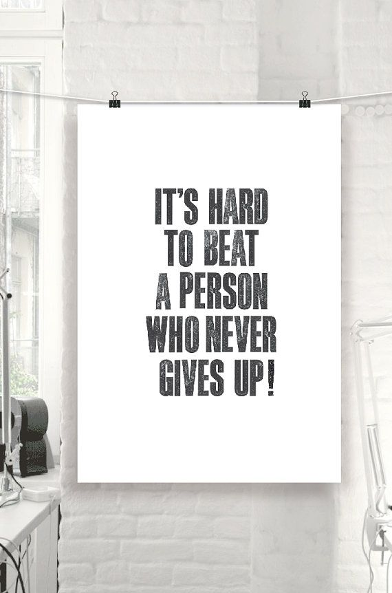 Inspiring Wall Art Never Give Up By Themotivatedtype
