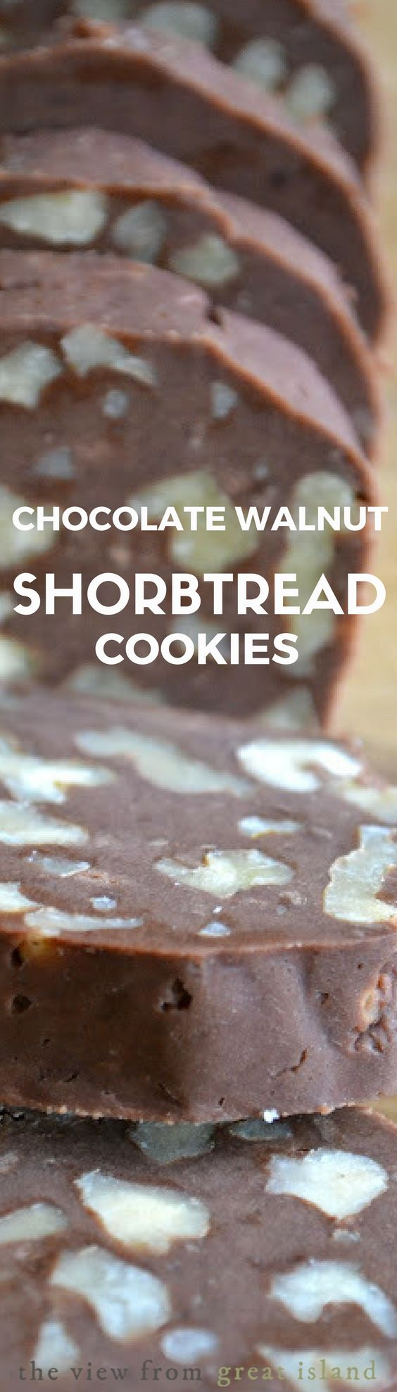 Chocolate Walnut Shortbread Cookies ~ if a cookie and a brownie had a baby they might come up with a delicious buttery cookie like this!