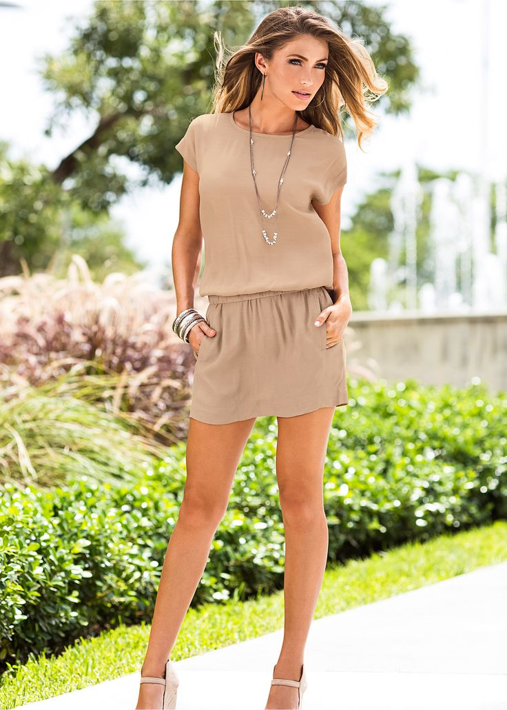 Vestido nude nude encomendar agora na loja on-line bonprix.de  R$ 69,90 a partir de Vestido casual de manga curta, com elástico na cintura deixando o modelo ...