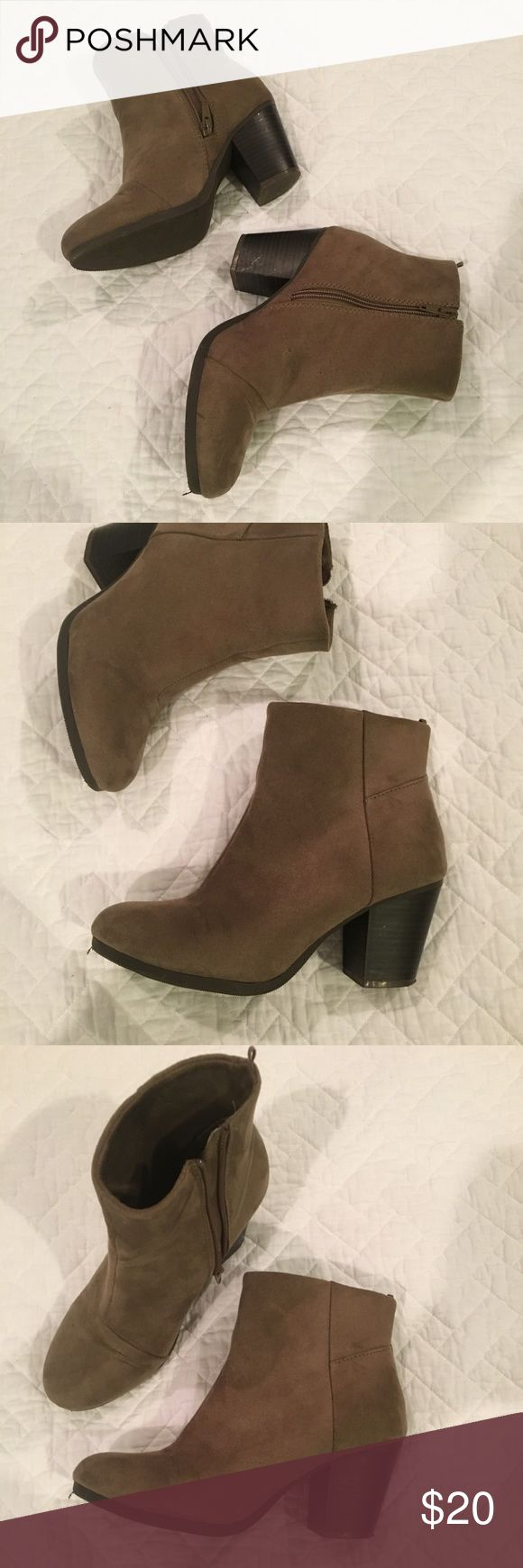 Old Navy Booties Army green/brownish booties, great condition, worn a few times Old Navy Shoes Heeled Boots