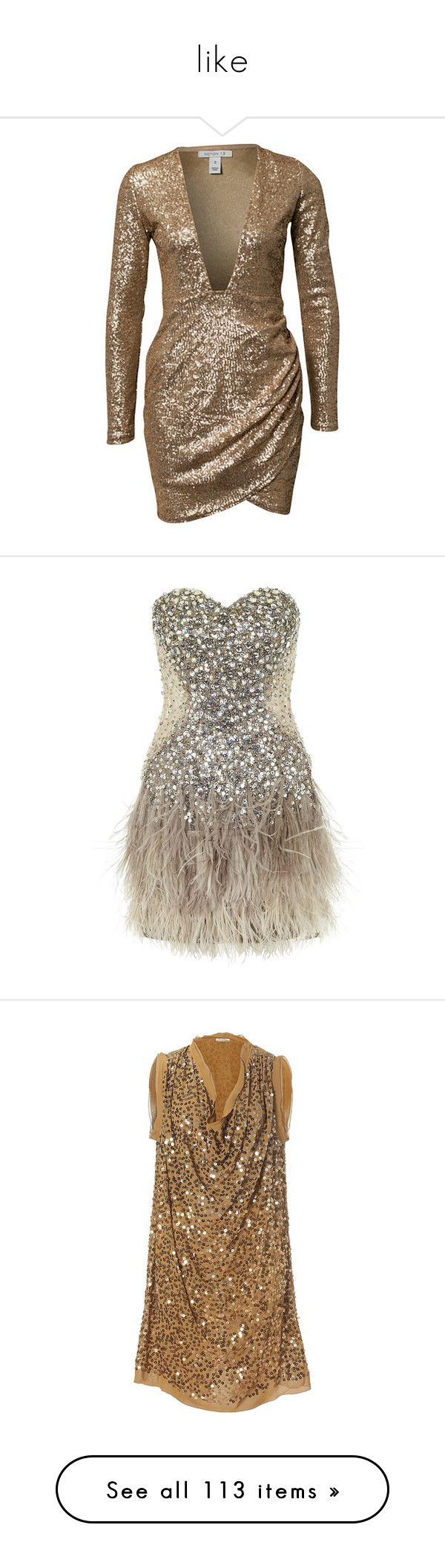 """""""like"""" by brittklein ❤ liked on Polyvore featuring dresses, brown dress, sequin dresses, gold sequin cocktail dresses, sequin embellished dress, brown sequin dress, vestidos, short dresses, robe and mesh cut-out dresses"""