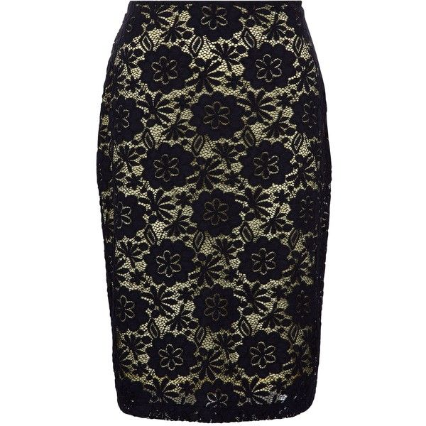 Precis Petite Navy & Yellow Lace Skirt ($56) ❤ liked on Polyvore featuring skirts, clearance, petite, yellow skirt, black lace skirt, floral knee length skirt, lace pencil skirt and pencil skirt