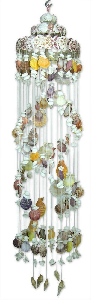 Hanging Sea Shell Mobile Wind Chime Chandelier Natural Spiral Shaped Nautical Beach Decor - 46 Inch High