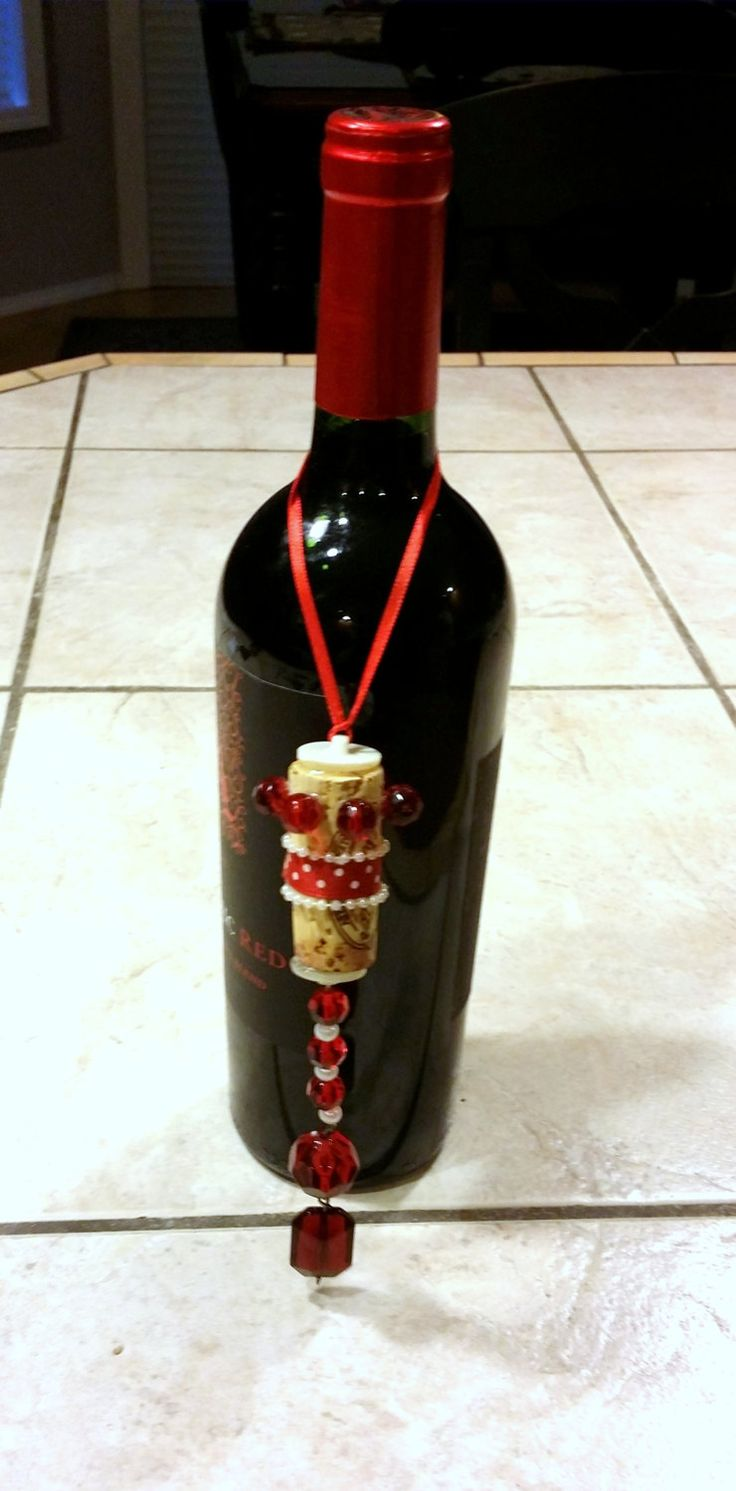 Recycled, vintage, reclaimed wine bottle bling, topper,  jewelry, necklace, pendant, charm, cork, red and white by Jewellgem on etsy by jewellgem on Etsy