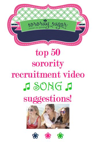 Music tastes differ, but in general when you're creating a recruitment video, you want a song which emphasizes ~ friendship, love, bonds, excitement, unity, happiness, home, family, spirit, relationships, etc… An upbeat tune that PNMs will respond to is totally appropriate. These are 50 possibilities for your fabulous chapter or panhellenic recruitment slideshow/video! <3 BLOG LINK: http://sororitysugar.tumblr.com/post/108478427099/sorority-recruitment-video-music-inspiration#notes
