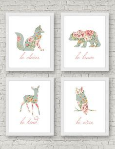 Woodland Nursery Art Baby Girl Be Brave Be Kind Be Clever Be Wise Art Print Set of 4 fox bear deer owl Shabby chic Floral Roses robins egg blue turquoise coral pink forest animals by LittleLionCreative