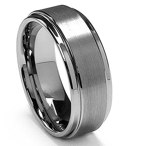 King Will 8mm White Tungsten Ring Wedding Band Step Edge Brushed Center Any Size - http://www.jewelryfashionlife.com/king-will-8mm-white-tungsten-ring-wedding-band-step-edge-brushed-center-any-size/