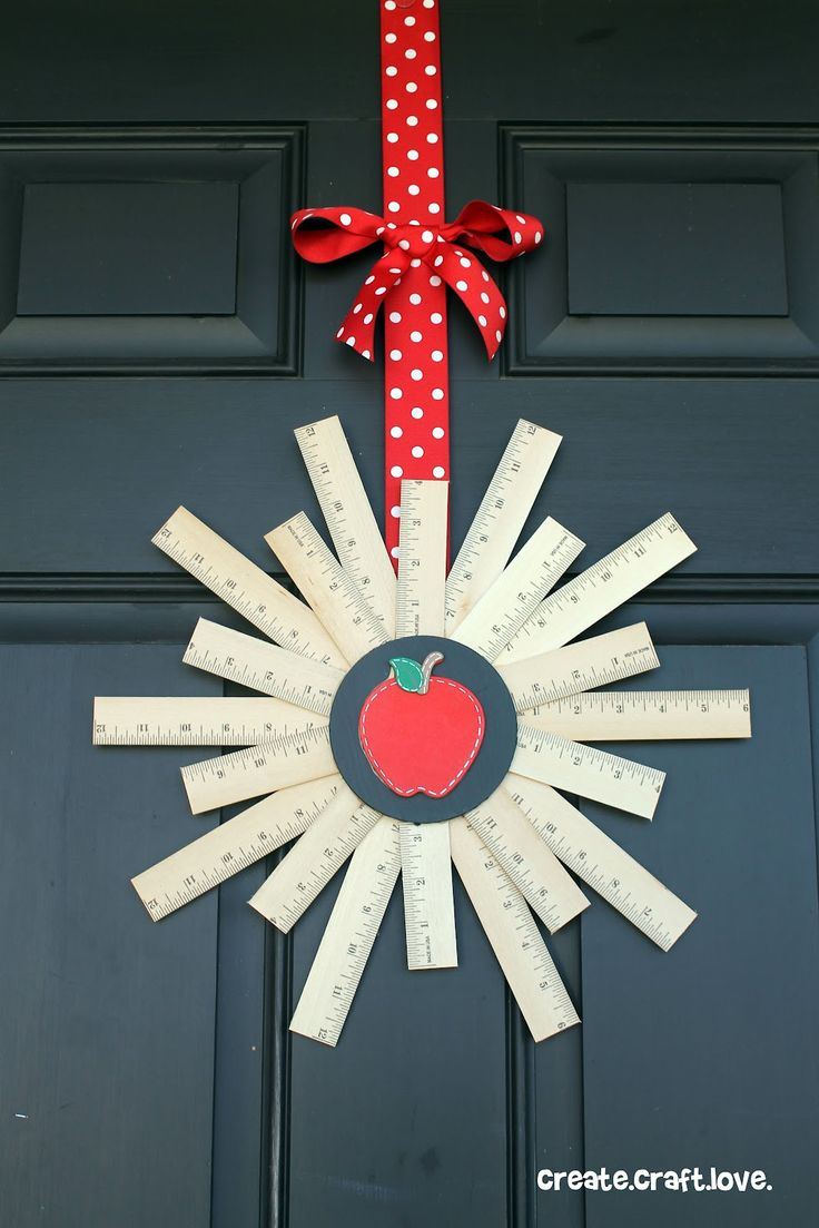 """Looking for a creative gift for teachers this year? This wreath """"rules"""" — it's inexpensive, easy to create, and the supplies are $1 each at Dollar Tree!"""