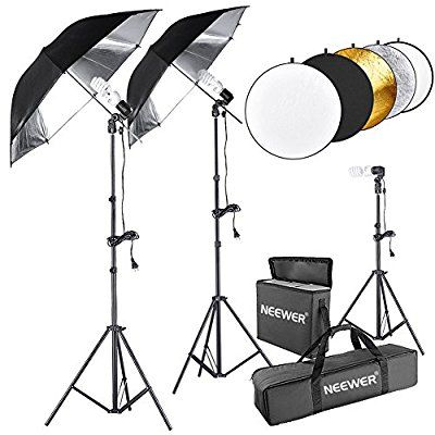 """Neewer® 600W 5500K Photo Studio Black/Silver Umbrella Continuous Lighting Kit with 43""""/110cm 5 in 1 Reflector for Product,Portrait and Video Shoot Photography"""
