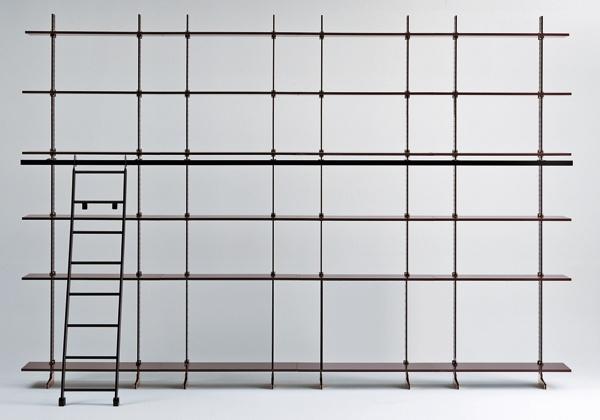 Atelier Gruppo Misura Emme. Libreria modulare Elegie, tratta da un disegno di Ignazio Gardella del 1949.