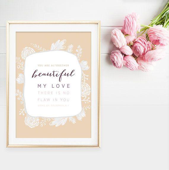 Song of Solomon 4:7 - Bible Verse Art - Christian Typography - Typographic Wall Art - Flower Print - Anniversary Gift - Scripture Print