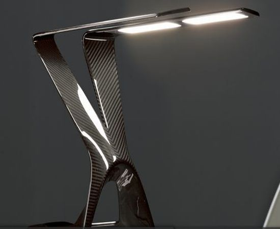"Now THIS is cool! I've-got-to-have-it! ""Victory/Carbon Series"" clear lacquer OLED table lamp. 7,500 USD. Manufacured by Novaled AG out of Germany. Available in the US at Uli + Friends, Inc. in Miami. www.ulifriends.com"