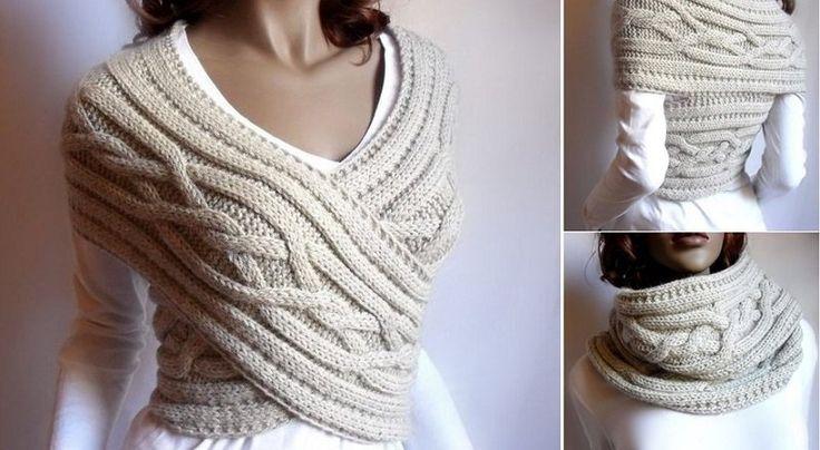 2 DANS 1 Comment une veste tricot châle et un tricot tube!
