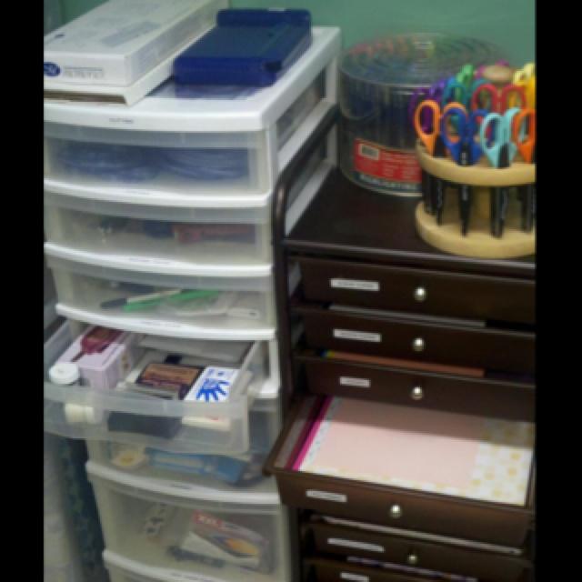 Organized scrapbook supplies
