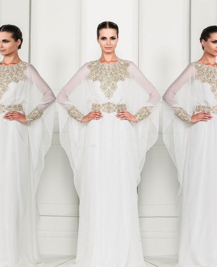Robe Dubai Kaftan Dress White Chiffon and Silver Beading Long Sleeves Arabic Evening Gowns