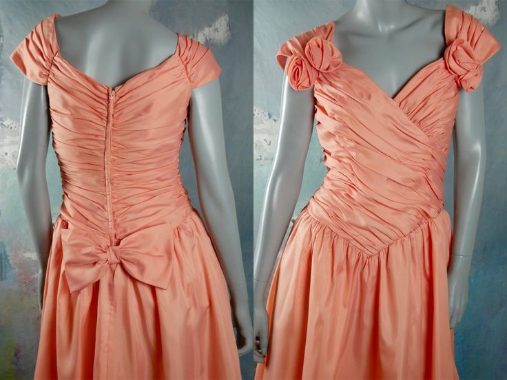 Vintage 80s Prom Dress, Peach-Colored Below-the-Knee Evening Dress w Goddess Pleating and Large Bow in Back, Formal Party Dress: 8 US, 12 UK by YouLookAmazing on Etsy