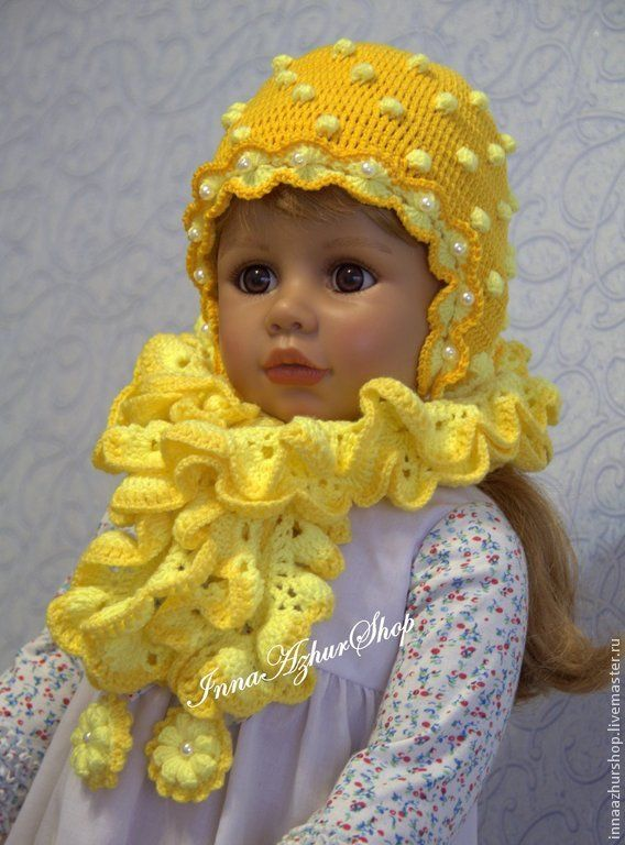 """Купить Комплекты """"Весна"""" - желтый, головные уборы для детей, головные уборы, шапочка для девочки"""