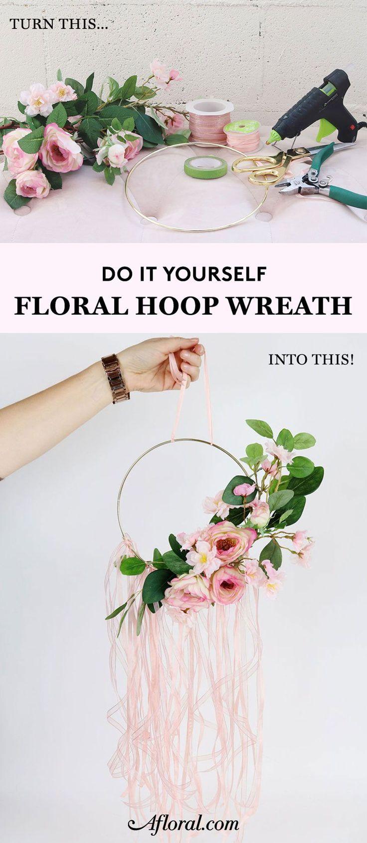 Diy Floral Hoop Wreath Diy Floral Wreath Floral Hoops Diy Wreath