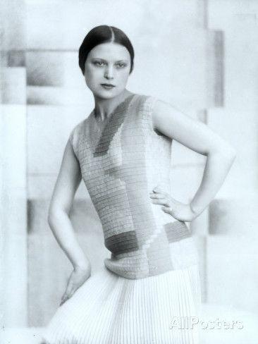 Portrait of Wanda Wulz in Dress Designed by Anita Pittoni.