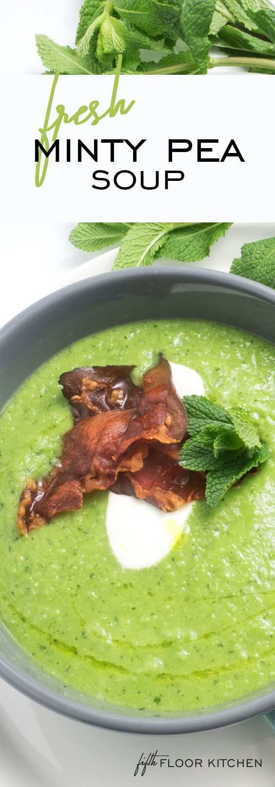 This spring pea & mint soup with crispy prosciutto is fresh and healthy. I love the minty taste and the vibrant green color! Delicious!