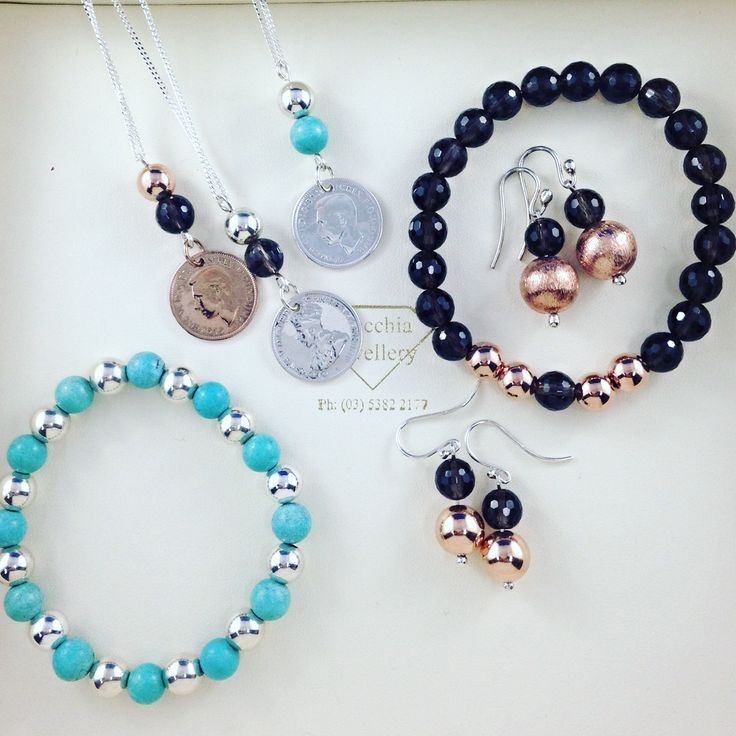 Turquoise and silver, smoky quartz and rose bead bracelets. Rose tone and smoky quartz drop earrings. Sixpence coin necklace with turquoise and silver or smoky quartz and rose or silver. So pretty. Made with love at Macchia Jewellery, Horsham, AU