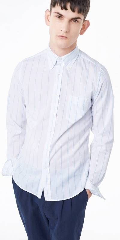 GANT: Blue Pinstriped Broadcloth Fitted Shirt Men's | GANT USA Store