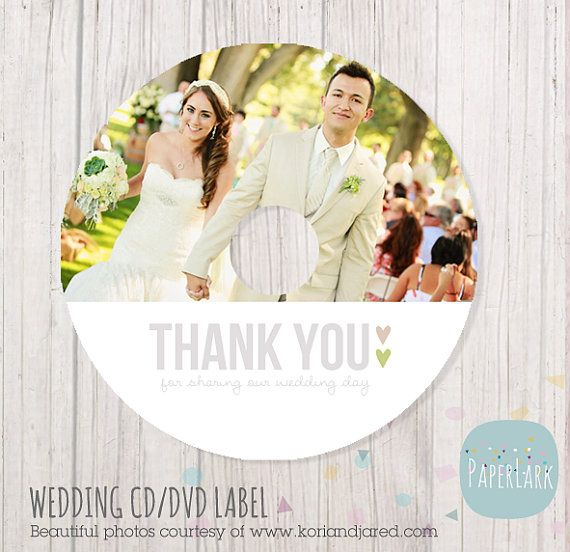 Wedding CD label photoshop template EW001 by PaperLarkDesigns, $3.95