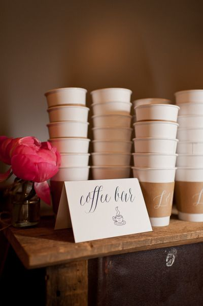 custom bar signage and coffee sleeves | RPS  #wedding day of details on Style Me Pretty