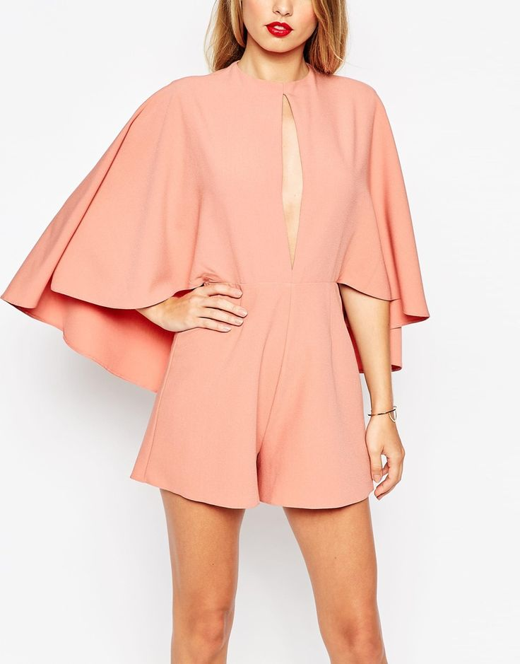 Image 3 of ASOS Occasion Playsuit with Cape and Keyhole