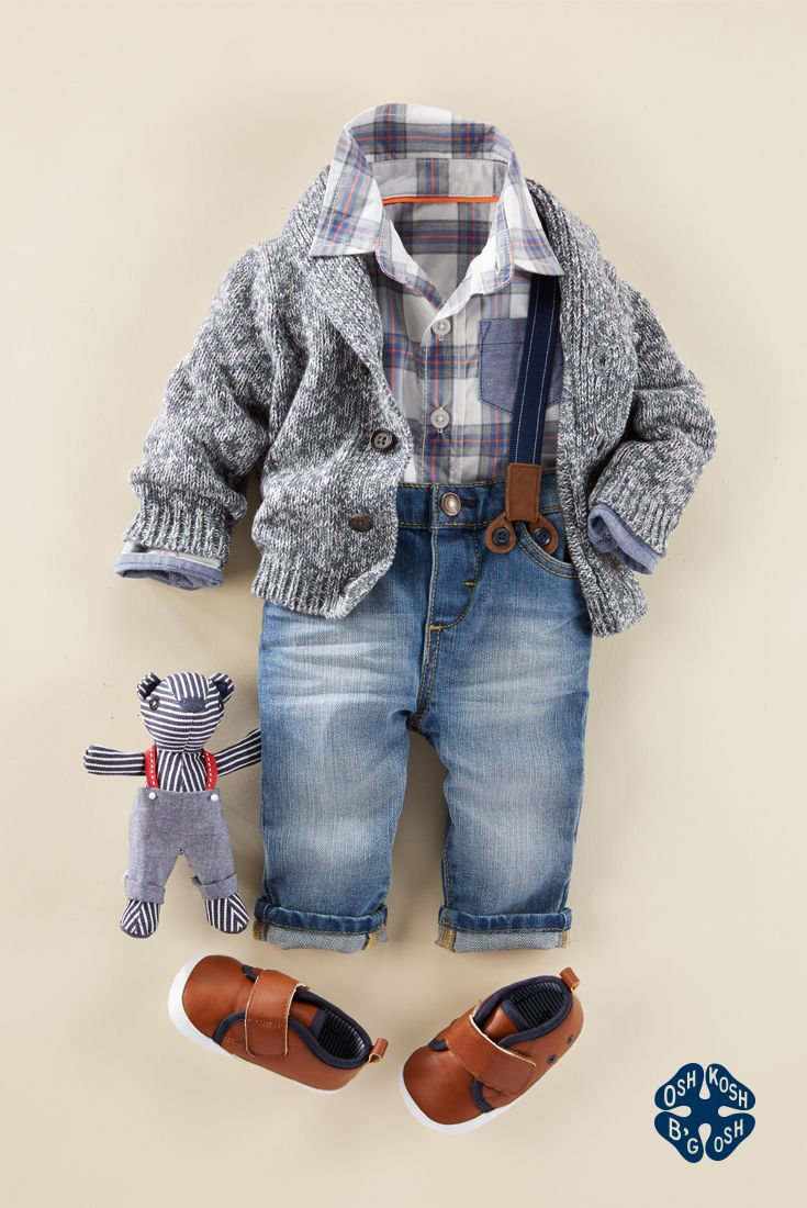 Oh my B'gosh! This layered, little-man look from our fall Baby B'gosh collection shows that babies can accessorize, too. Tiny suspenders really take this look up a notch, while a marled shawl collar cardigan keeps him cozy. Shop the entire Baby B'gosh collection at OshKosh.