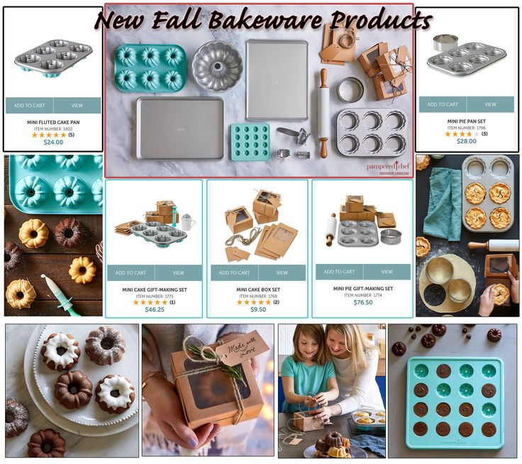 Pampered Chef Fall Bakeware, Mini Pie Pan, Mini Fluted Cake Pan, Cookies, Cookie Roller, Cookie Cutter, Gift Set, Homemade Gifts, Holiday, Christmas Baking, Gift Giving, Minis, Bundt Cake