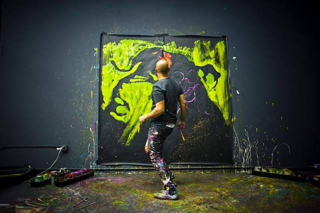 Performance speed painter David Garibaldi. Pre– America's Got Talent. I am still fascinated by his Epic Mickey arts. Website: www.garibaldiarts.com